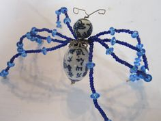 Daddy long legs Christmas Spider with ceramic Chinese beads $10