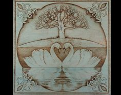Pyrography Wood Burning Swans & # Romance SantoArt on Etsy - Clocks Wood Burning Crafts, Wood Burning Patterns, Wood Burning Art, Ed Wood, Wood Art, Dot Art Painting, Painting On Wood, Pyrography Patterns, Pyrography Tips