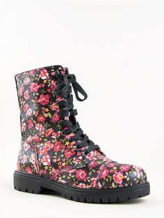 floral combat boots - I like these more than is really reasonable ...