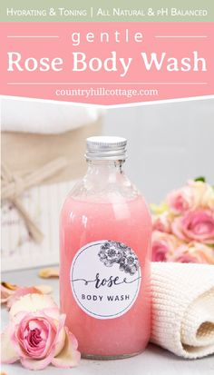 See how to make DIY rose body wash suitable for dry and sensitive skin. The tutorial shows how to make natural body wash without castile soap. Diy Body Wash, Homemade Body Wash, Natural Body Wash, Lip Scrub Homemade, Homemade Deodorant, Homemade Shower Gel, Facial Cleanser, Moisturizer For Oily Skin, Homemade Beauty Products