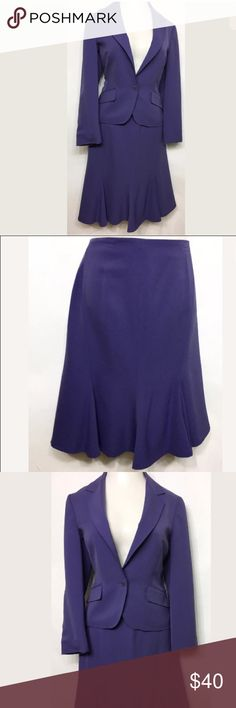 """ANNE KLEIN Womens Purple Career Skirt Suit Size 10 ANNE KLEIN Womens Purple Skirt Suit Size 10 