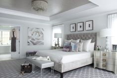 Silver Creek Carpet Bedroom Transitional With Ottoman Lucite Legs Framed  Photographs