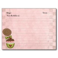 Cute Recipe Cards | Cute Recipe Cards, Cute Recipe Card Templates, Postage, Invitations ...