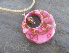 $24 SALE - Pink, Mauve and Brown Polymer Clay and Crystal Pendant Necklace http://joeyseagles.org/wordpress/