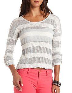 Mixed Stitch Striped Pullover Sweater #CharlotteRusse #CRFashionista #sweater