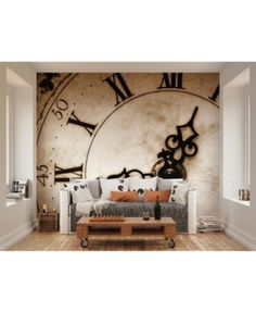 Mural Brewster Home Fashions Timepiece Wall Collage Mural, Mural Wall Art, Large Wall Murals, Feature Wallpaper, Wall Wallpaper, Wallpaper Paste, Photo Wallpaper, Wallpaper Wallpapers, Classic Clocks