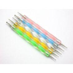 Dotting 5 X 2 Way Marbleizing Dotting Pen Set for Nail Art Manicure Pedicure, 4 Ounce