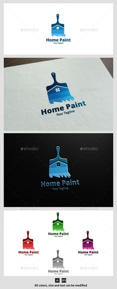 Home Paint Logo Template #vector #eps #decorate #house care • Available here → https://graphicriver.net/item/home-paint-logo-template/11589351?ref=pxcr