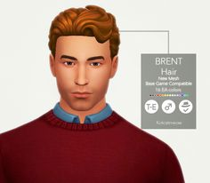 A new hairstyle 'Brent' for your male sims! I hope you enjoy it! C: Credits: EA for the mesh and textures. Made with Sims4 Studio. • Base Game Compatible • Hat Compatible • Custom Thumbnail • 16 EA...