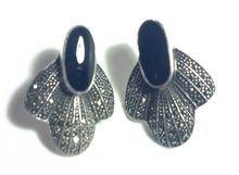 Classy Black Onyx & Marcasite Sterling Silver Post Style Pierced Earrings