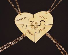 Sawed and engraved by hand, these 5 piece 14 karat Gold Filled heart puzzle necklace sets are perfect for groups of friends or family. Have them engraved with a quote or individually with names. These are highly rated top sellers in my store and people love them for weddings, farewells, and friendship gifts #heartpuzzlenecklaces #puzzlenecklaces #friendshipnecklaces #friendshipjewelry #farewellgift #graduationgift #weddinggift #friendnecklaces #friendshipjewelry #blendedfamily Presents For Best Friends, Birthday Gifts For Best Friend, Best Friend Gifts, Dog Jewelry, Animal Jewelry, Custom Jewelry, Friendship Necklaces, Friendship Gifts, Farewell Gifts