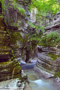 Slot canyon stream near Mikro Papingo village Pindhos , Epirus/Epiros, Greece, Beautiful Islands, Beautiful World, Beautiful Places, Slot Canyon, Parthenon, Famous Places, Greece Travel, World Heritage Sites, Athens