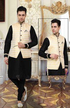 Magnificent Black& Beige Kurta Pyjama set With Jacket