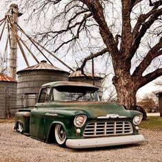 Slammed Rat Rod Tri-Five Chevy Pickup 57 Chevy Trucks, Lowered Trucks, Classic Chevy Trucks, Chevy Pickups, Pickup Trucks, Classic Cars, Bagged Trucks, Chevy C10, Lowrider Trucks