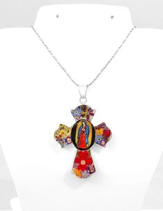 Sterling Virgin of Guadalupe Cross with Flowers Pendant Medallion Taxco Mexico #Handmade