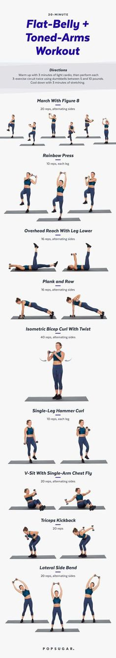 Lose Fat Fast - Flat-Belly and Toned-Arms Workout - Do this simple 2 -minute ritual to lose 1 pound of belly fat every 72 hours Fitness Workouts, Toning Workouts, At Home Workouts, Fitness Motivation, Yoga Fitness, Fitness Plan, Health Fitness, Fitness Diet, Workout Plans