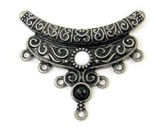 Black White Necklace Pendant Antique Silver Bib Crescent