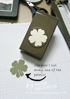 Beth's Paper Cuts:see how she cuts away one of the petals to create this shamrock Card Making Tips, Card Making Techniques, Making Ideas, Making Cards, Paper Punch Art, Punch Art Cards, Stampin Up Anleitung, Craft Punches, Scrappy Quilts