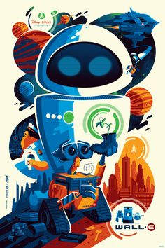Tom Whalen Wall-E Movie Poster Disney Pixar Print Officially Licensed Art Mondo Disney Vintage, Retro Disney, Art Disney, Disney Kunst, Vintage Cartoon, Disney Toms, Tom Whalen, Disney E Dreamworks, Disney Pixar