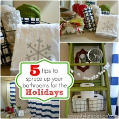 5 tips to dress up your bathroom for the holidays with sassystyleredesign.com #bathroom #diy #christmas