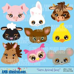 Check out Farm animal faces clipart-commercial by AMBillustrations on Creative Market