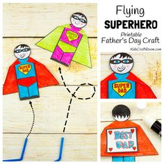 Printable template to make a Flying Superhero Father's Day Craft.Fill in your details and your pdf download link will be emailed to you direct.