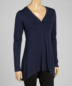 Loving this Navy V-Neck Long-Sleeve Top on #zulily! #zulilyfinds