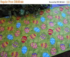 ON SALE Easter Table Runner Decorated Eggs on Grass by MakeMeOver