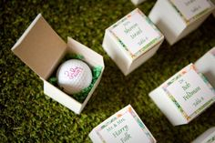 Golf Ball Escort & Place Cards, Bat Mitzvah Party by Bliss Events - mazelmoments.com wedding place cards, sports wedding place cards #wedding #weddings