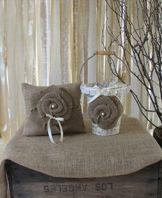 Flower Girl Basket and Ring Bearer Pillow Set Shabby Chic Wedding Rustic Wedding. $55.00, via Etsy.