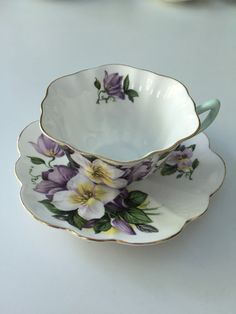 Gorgeous Shelley purple and white pansy teacup by TorontoTreasures