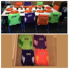 Owl chair covers for my daughters classroom for their Halloween/Harvest party. All made with Felt material