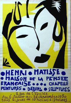 Original Künstler Plakat Matisse Original Artist Poster Matisse Affiche original Henri Matisse  title Chapelle, Peintures, Dessins, Sculptures  technology Lithography in 4 colors
