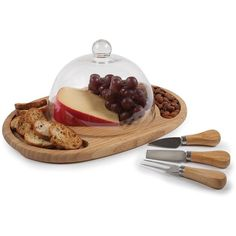 Core Bamboo Butler's Cheese Board Set ($50) ❤ liked on Polyvore featuring home, kitchen & dining, serveware, bamboo, cheese knife, cheese serving board, cheese board, cheese dome and cheese serving tray