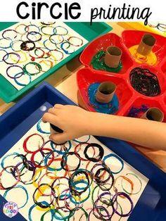 Circle printing! Plus 2D Shapes activities for preschool, pre-k, and kindergarten. Shape mats (legos, geoboards, etc), play dough mats, posters, sorting mats, worksheets, & MORE.