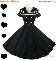 SALE Black Sailor Dress Rockabilly USO New White by pinupdresses