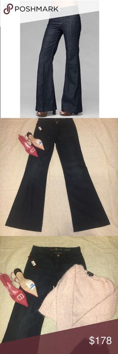 """🎉HP🎉NWT 7 For All Mankind """"Ginger"""" Flare Size 26 HOST PICK 🔥🔥🔥If you bundle You Get DISCOUNTS) NWT 7 For All Mankind Ginger Dark blue jean wash with the wide flare leg. Absolutely stunning❤️Size 26❤️Pant Leg Inseam 33' , Pant Leg out seam 42.5', Pant flare width 11.5, ❤️ 7 For All Mankind Jeans Flare & Wide Leg"""