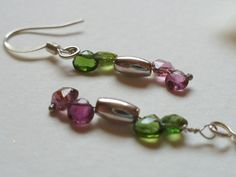 Dangle Earring Shades of Tourmaline  and Sterling by Smokeylady54