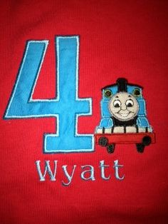 Thomas the Train Birthday Shirt Personalized with Name and Number- Baby Boy Birthday Shirt- Toddler Birthday Shirt- 1st Birthday
