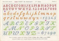 Cross-stitch lettering from Albums D'Antan.