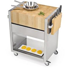 Carrello cucina - acciaio e legno