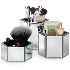 Beautify Mirrored Glass Hexagon Storage Pots for Makeup, Brushes, Jewellery & Accessories - Set of 3 includes Glass Cleaning Cloth