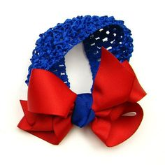 Kansas Jayhawks Red & Blue Infant & Toddler Large Bow Hair Band