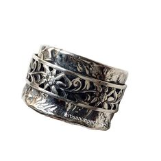 Sterling silver band, stacking band, silver spinners ring, floral ring, meditation ring, wide silver ring, flowers band - Back to life R2073
