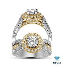 1.60CT Round Cut Diamond 925 Silver Two Tone Glorious Halo Style Engagement Ring…