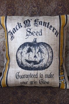 Jack-O-Lantern Seed Feed Sack Pillowcase: