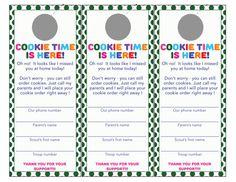 Leave behind door hanger for people who aren't home during cookie selling. Printable Girl Scout Cookie door hanger by SandySamDesigns on Etsy