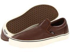 vans brown leather slip ons