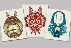 Tous les 3 affiches  mon voisin totoro princesse par bigbadrobot, $38.00