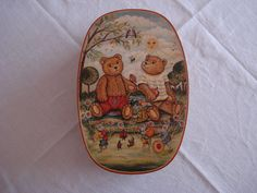 Phantastisch bemalte Spanschachtel ca. 30,5x20,5x9,5 cm Bärenmotiv top erhalten   eBay